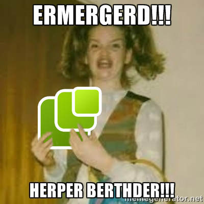 ERMERGERD!!! (excited girl holding a large microformats logo) HERPER BERTHDER!!!